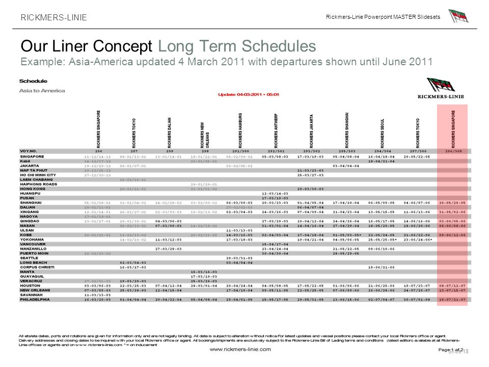 Our Liner Concept Long Term Schedules Example: Asia-America updated 4 March 2011 with departures shown until June 2011