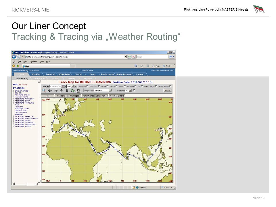 "Our Liner Concept Tracking & Tracing via ""Weather Routing"