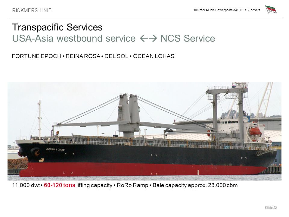 Transpacific Services USA-Asia westbound service  NCS Service