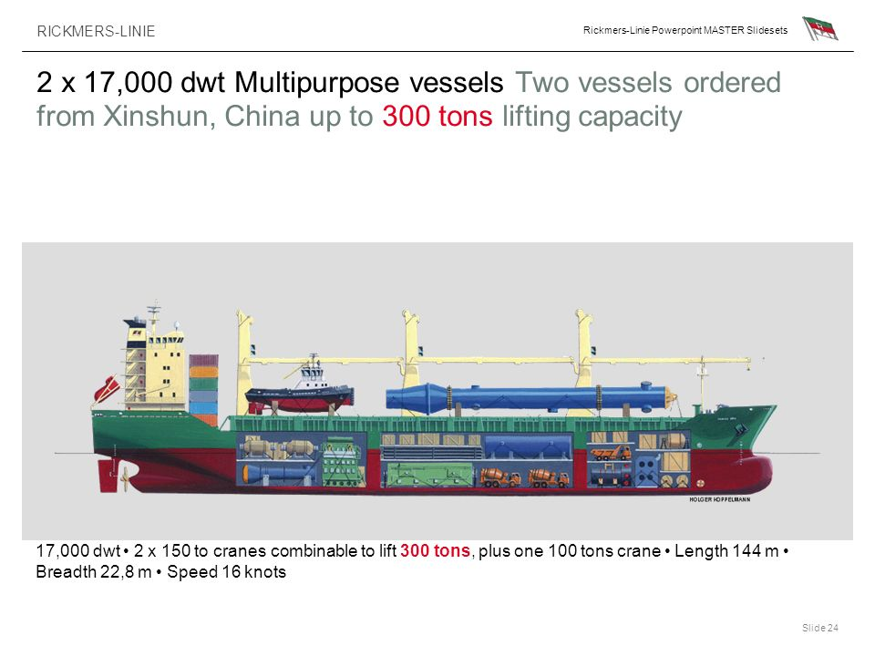 2 x 17,000 dwt Multipurpose vessels Two vessels ordered from Xinshun, China up to 300 tons lifting capacity