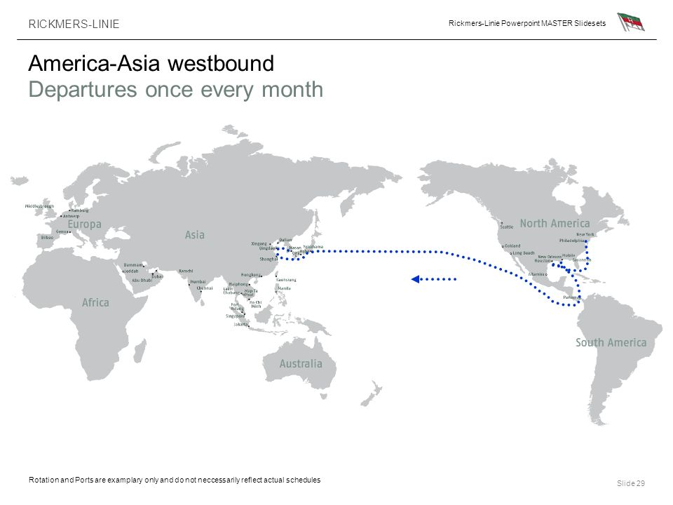 America-Asia westbound Departures once every month