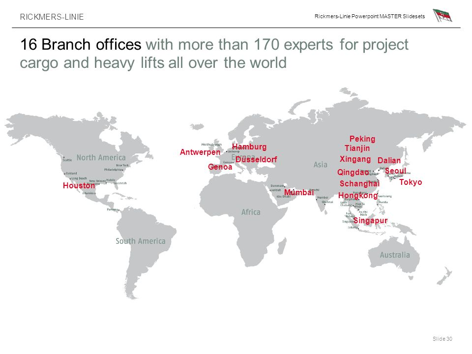 16 Branch offices with more than 170 experts for project cargo and heavy lifts all over the world