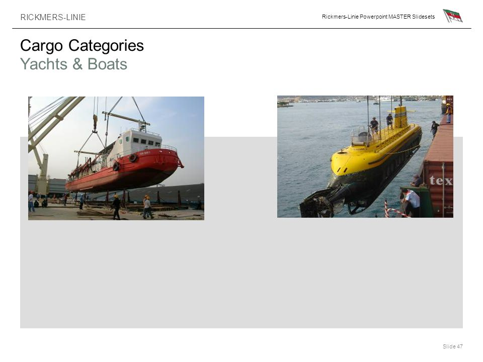 Cargo Categories Yachts & Boats
