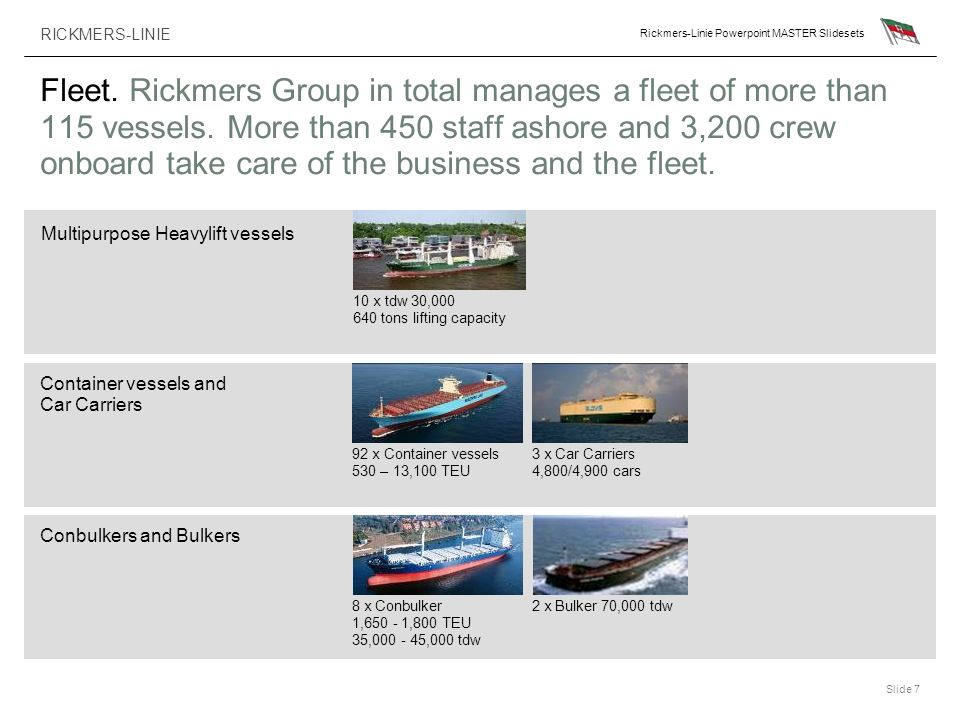Fleet. Rickmers Group in total manages a fleet of more than 115 vessels. More than 450 staff ashore and 3,200 crew onboard take care of the business and the fleet.