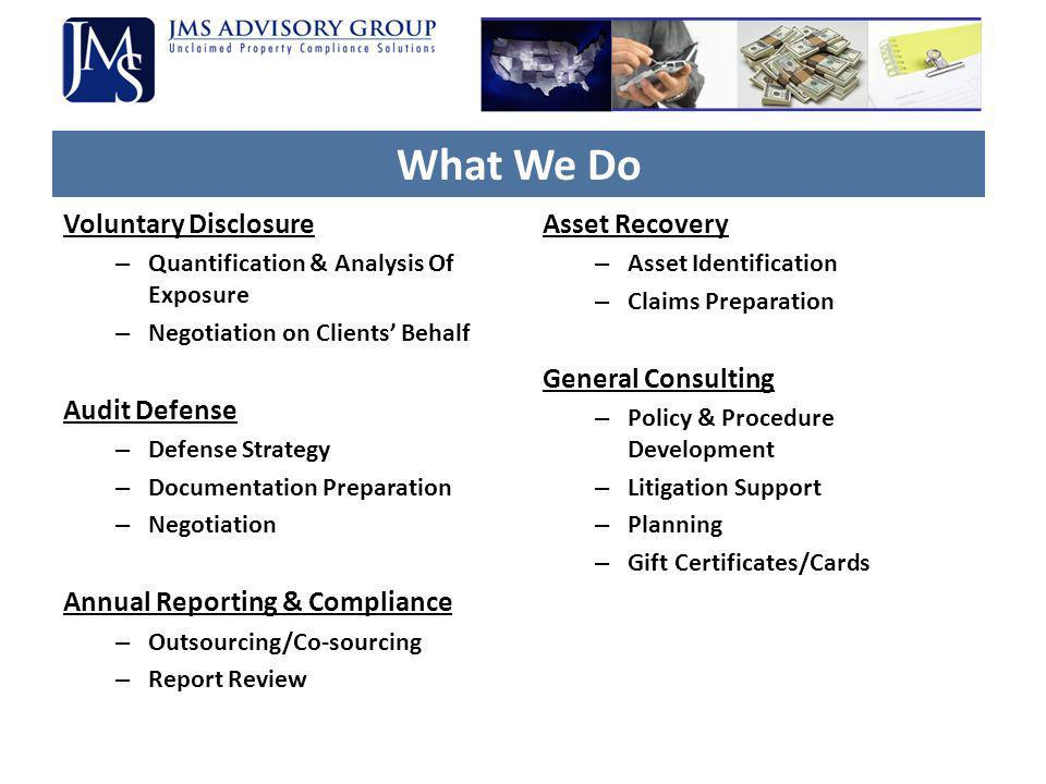 What We Do Voluntary Disclosure Audit Defense
