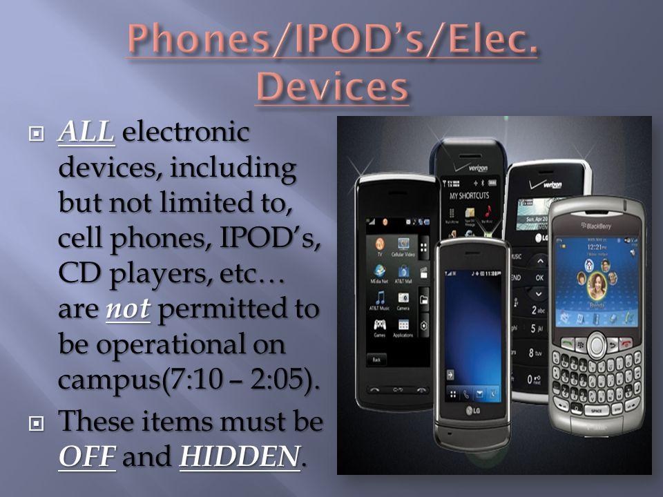 Phones/IPOD's/Elec. Devices