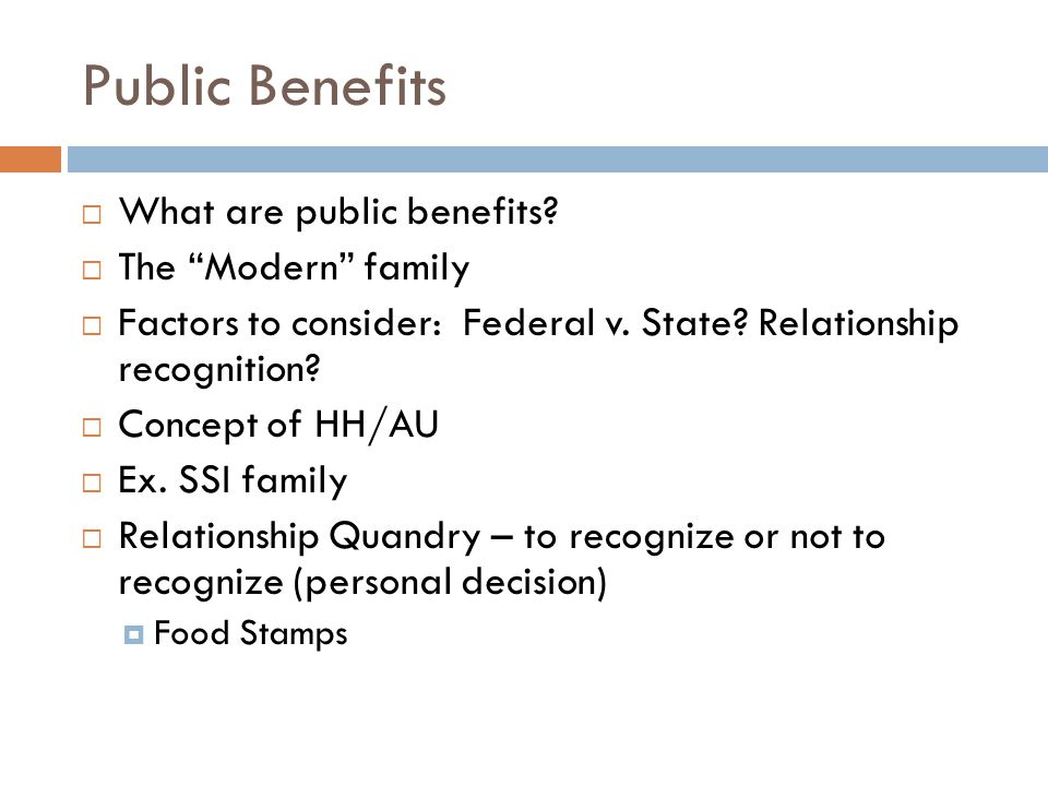 Public Benefits What are public benefits The Modern family