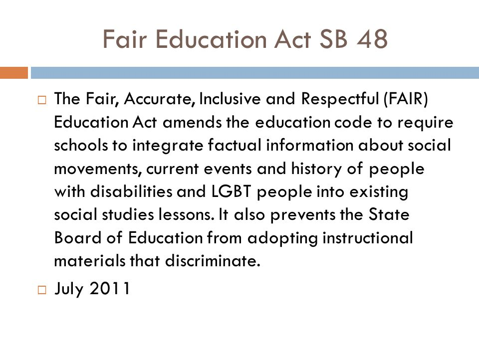 Fair Education Act SB 48