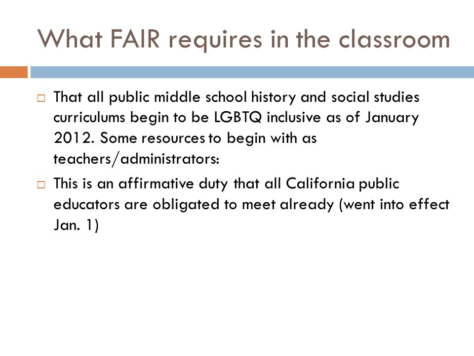 What FAIR requires in the classroom