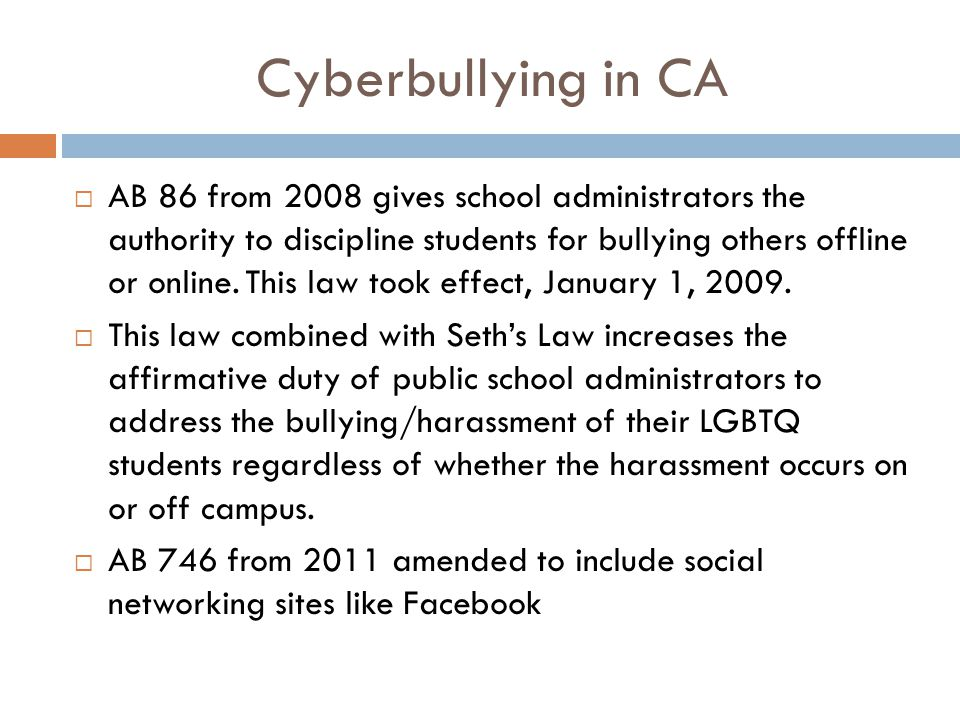 Cyberbullying in CA