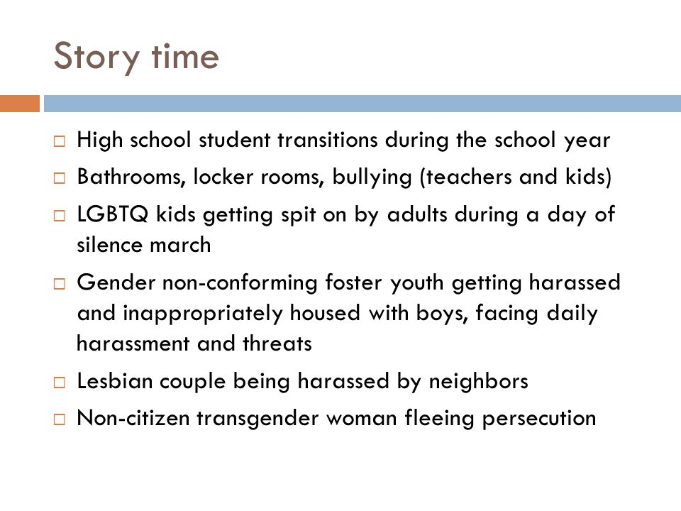 Story time High school student transitions during the school year