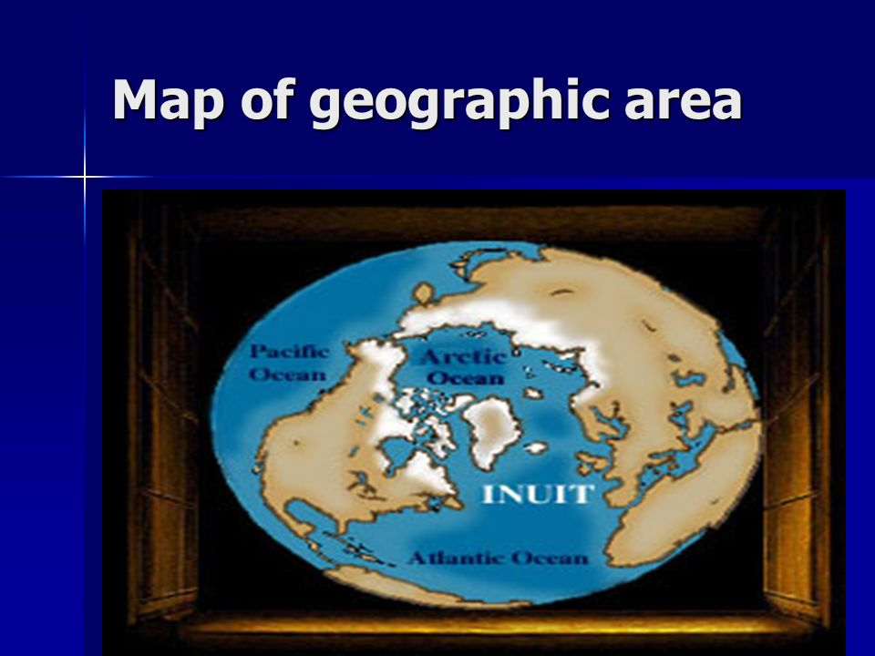 Map of geographic area Greenland, Canada, United States, Russia
