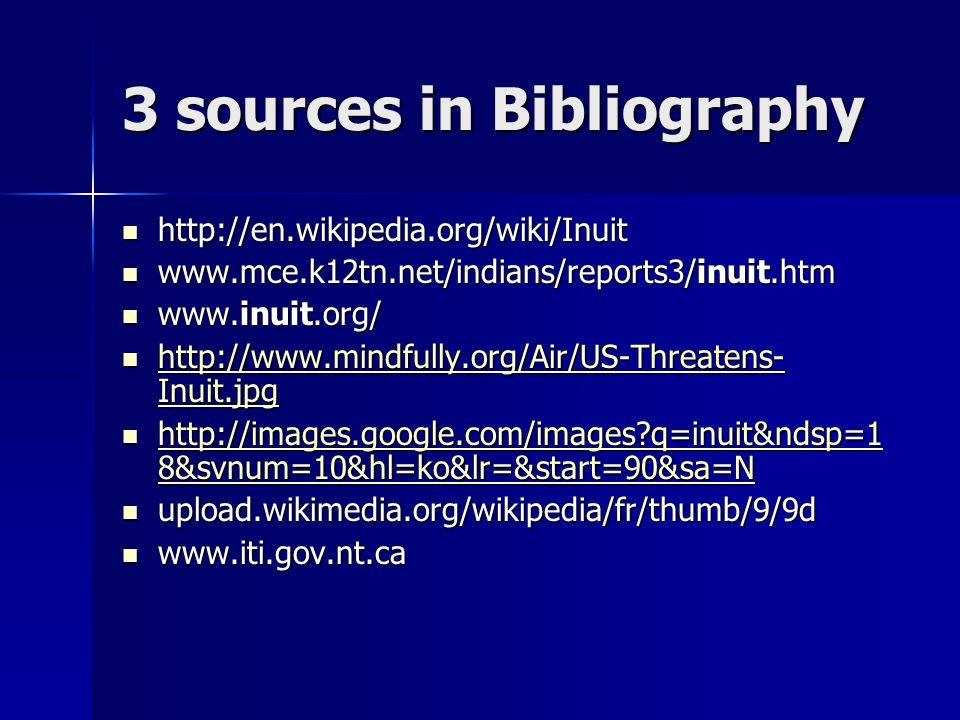 3 sources in Bibliography