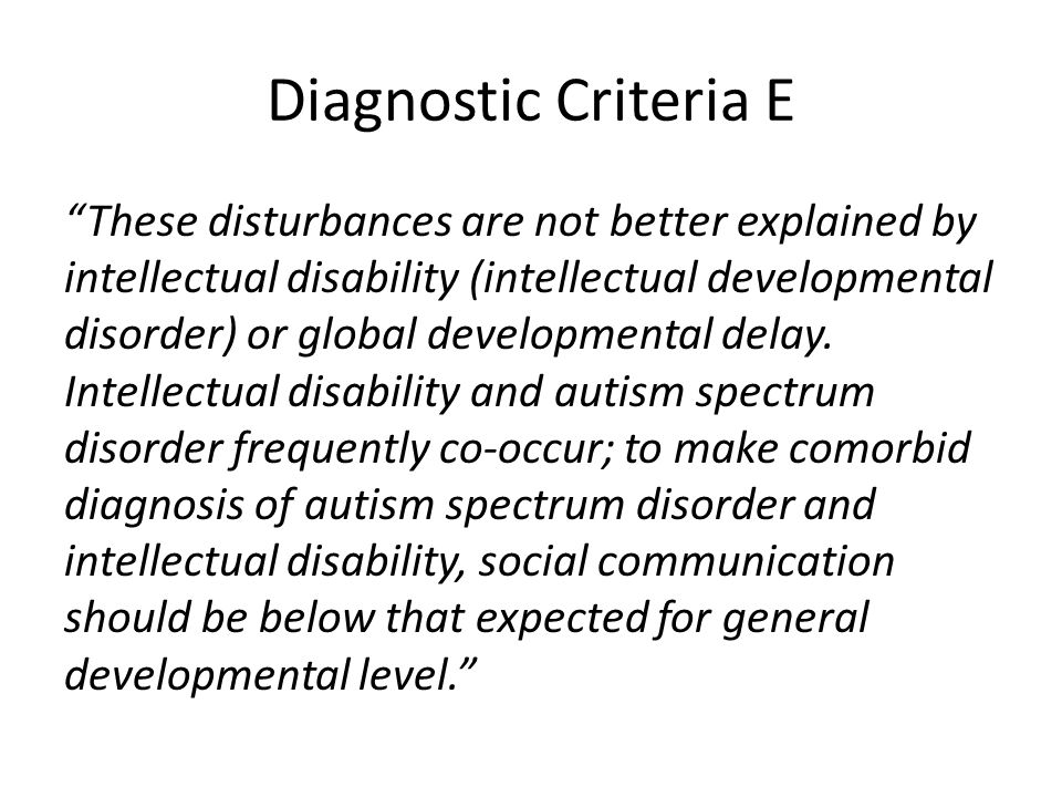 Diagnostic Criteria E