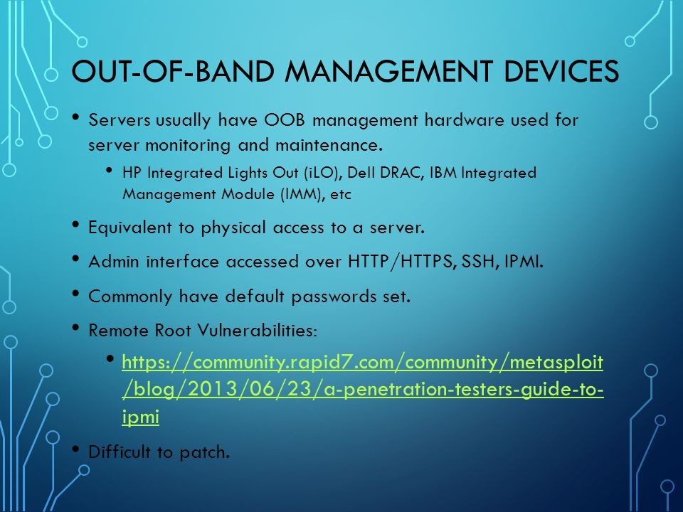 Out-Of-Band Management Devices