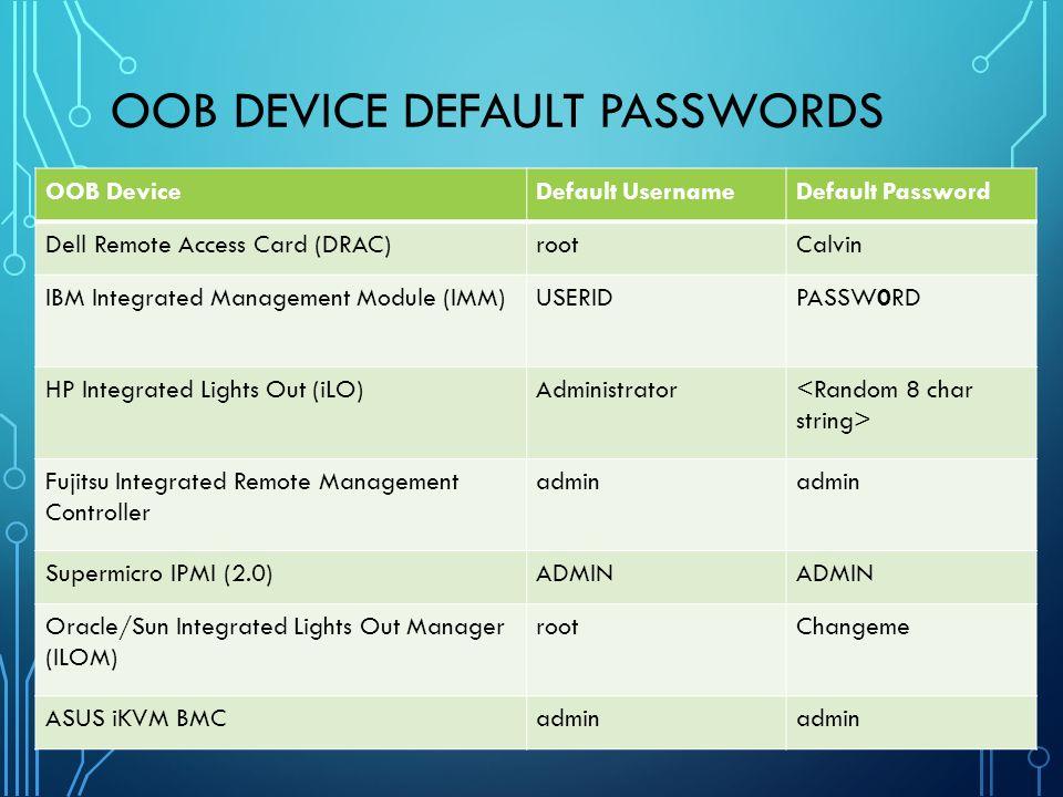 OOB Device Default Passwords