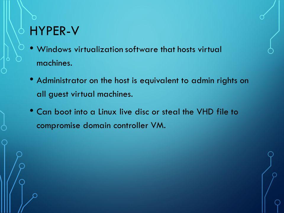 Hyper-V Windows virtualization software that hosts virtual machines.