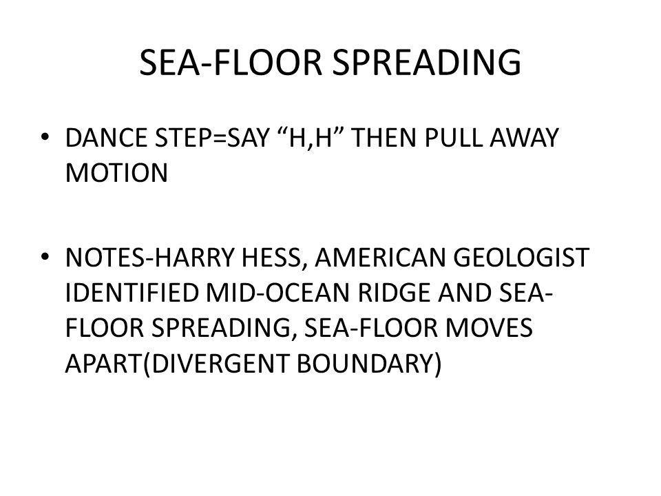 SEA-FLOOR SPREADING DANCE STEP=SAY H,H THEN PULL AWAY MOTION