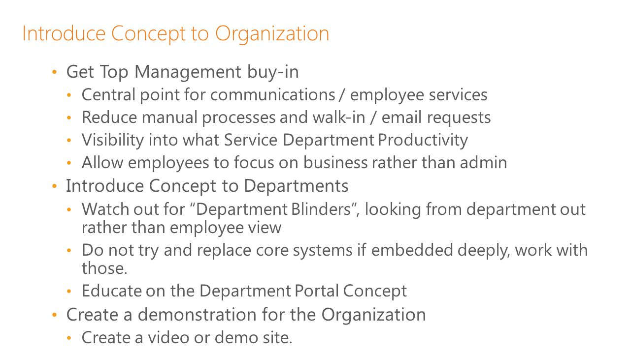 Introduce Concept to Organization