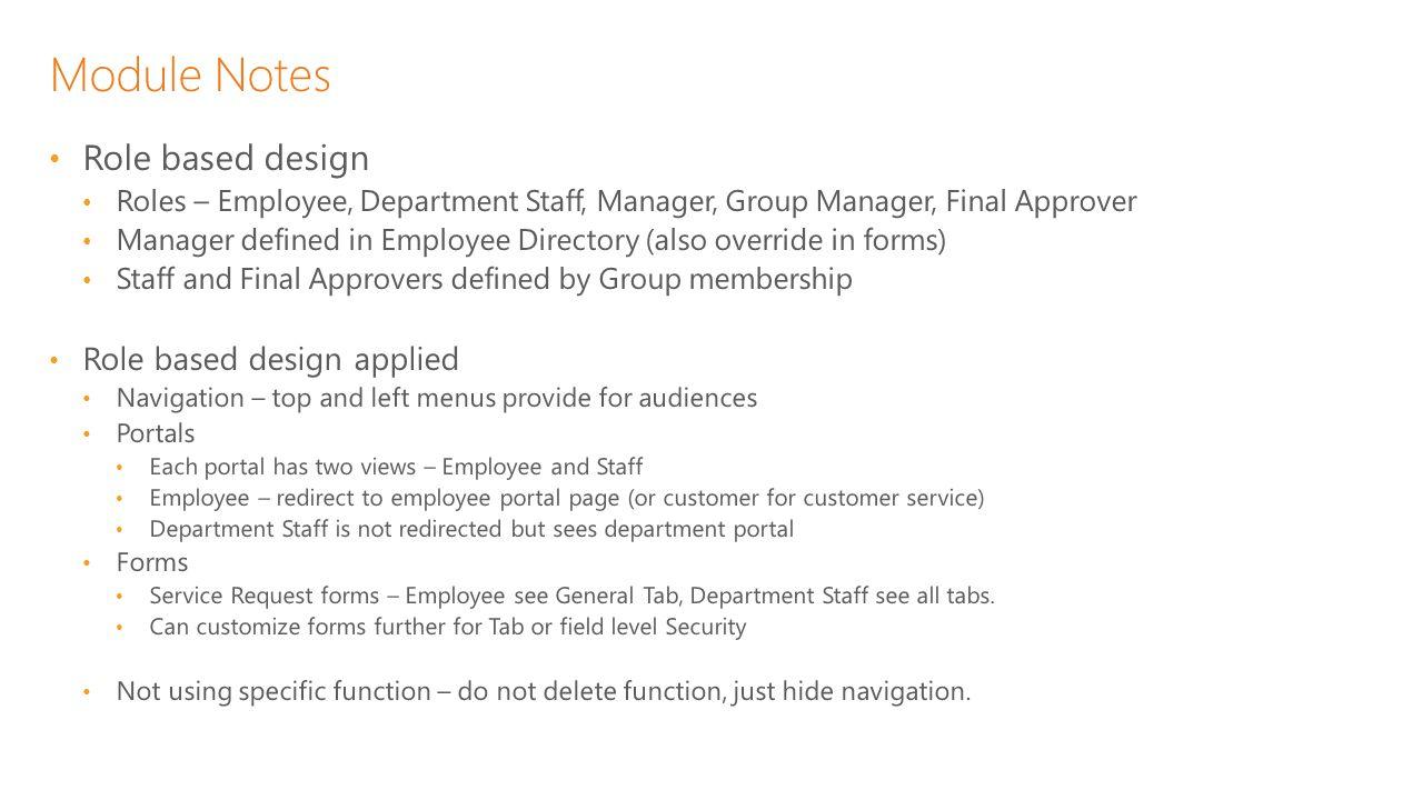 Module Notes Role based design Role based design applied