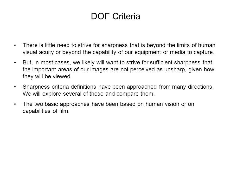 DOF Criteria