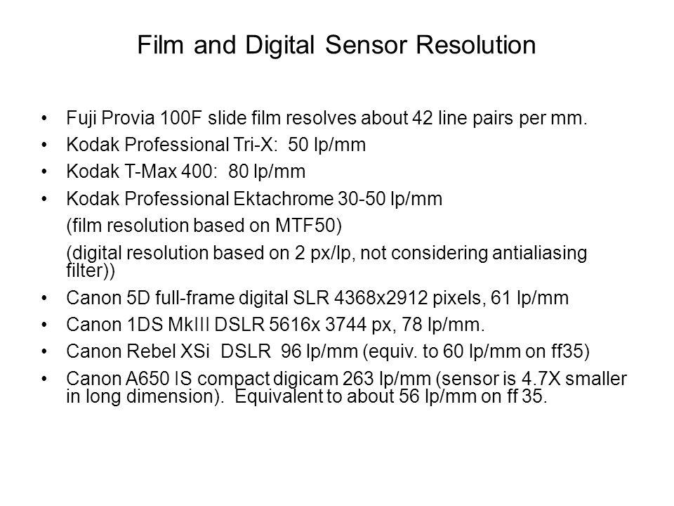 Film and Digital Sensor Resolution