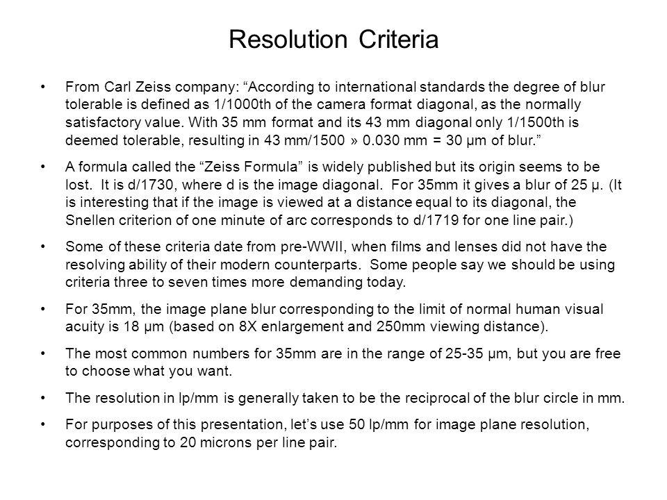 Resolution Criteria