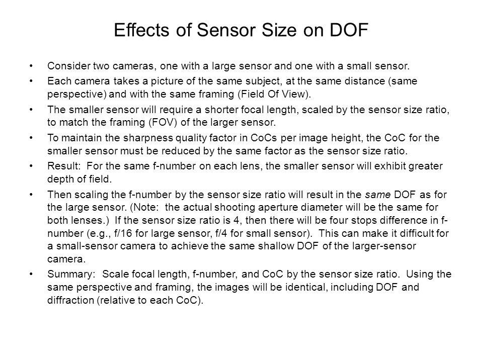 Effects of Sensor Size on DOF