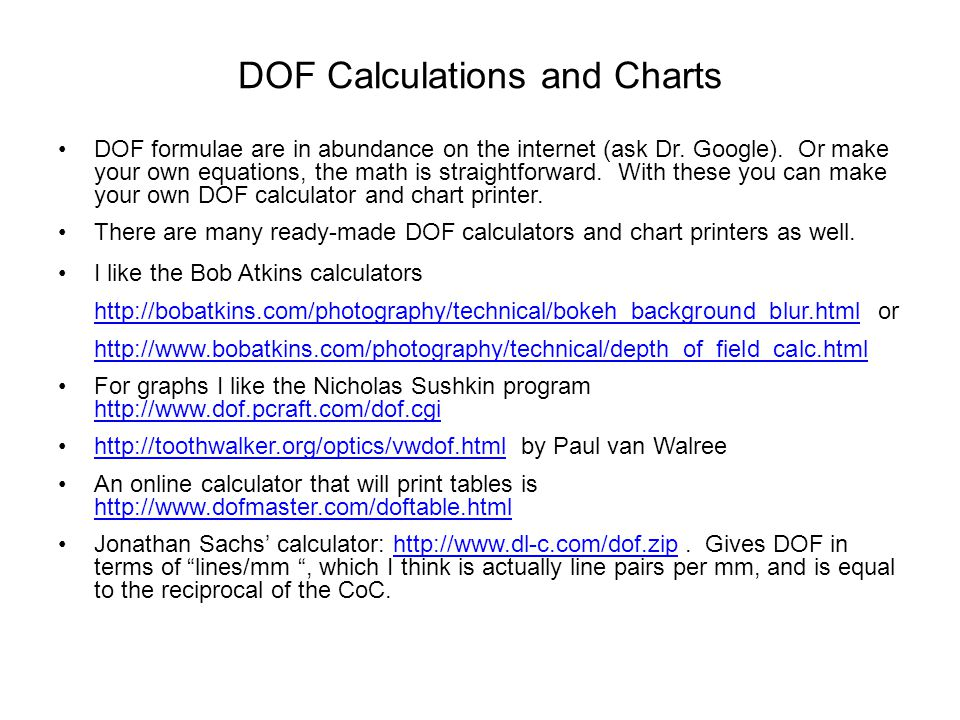 DOF Calculations and Charts