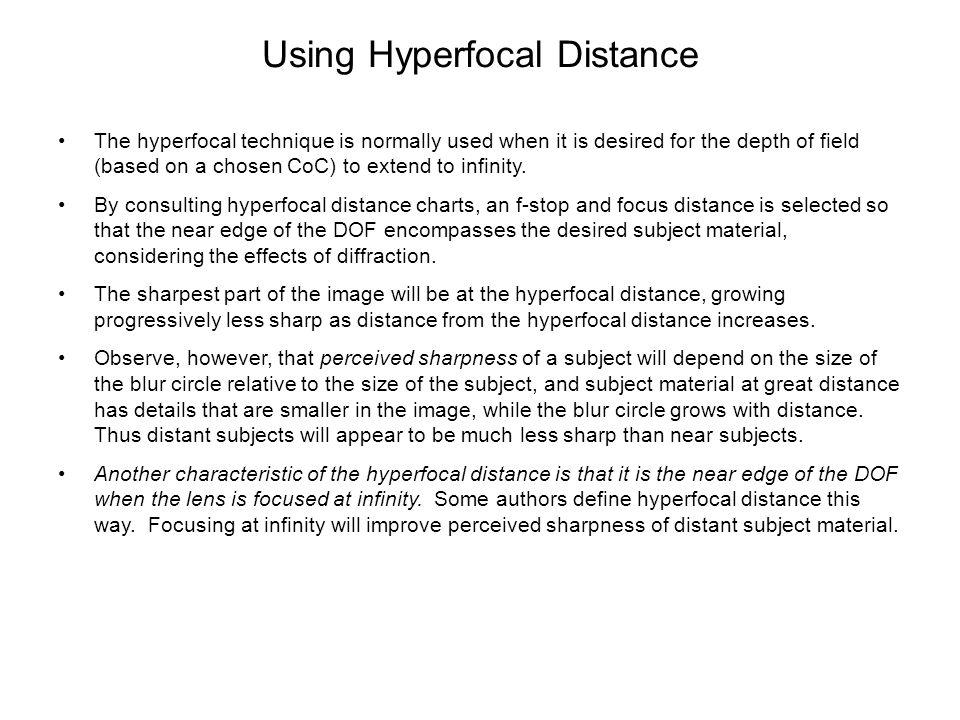 Using Hyperfocal Distance