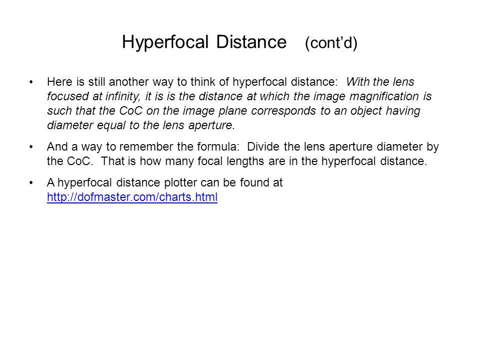 Hyperfocal Distance (cont'd)