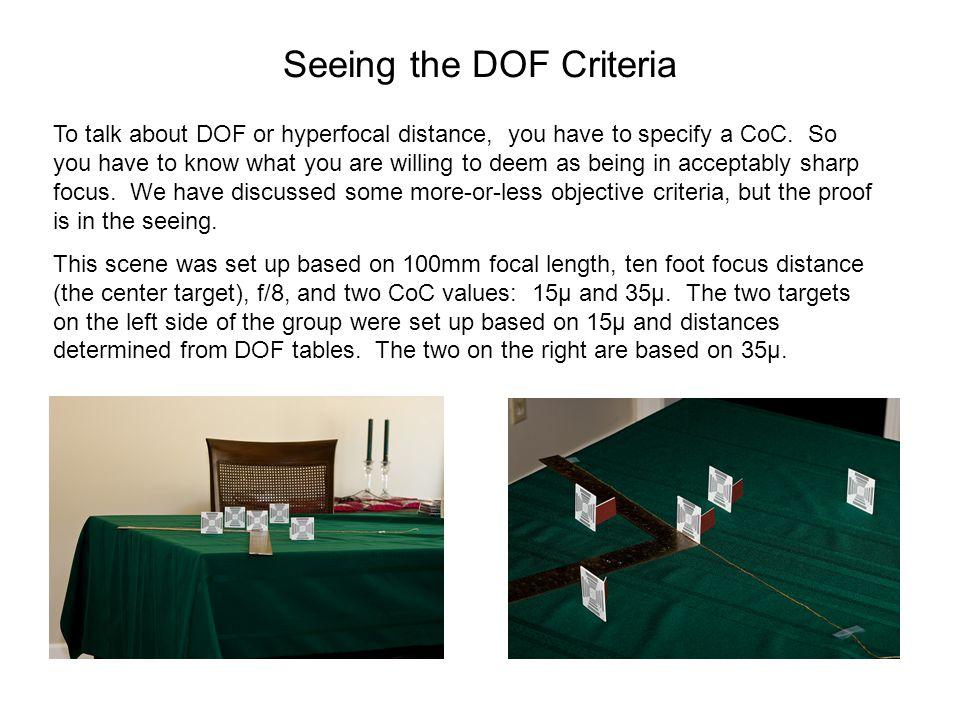 Seeing the DOF Criteria