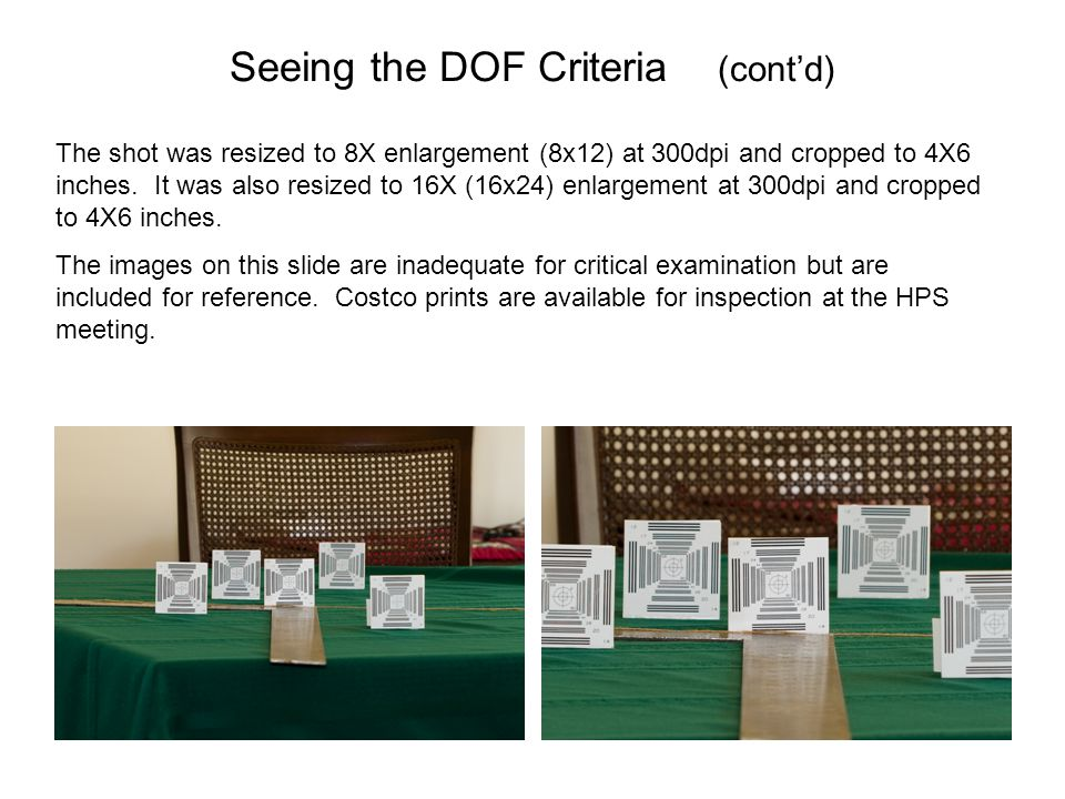 Seeing the DOF Criteria (cont'd)