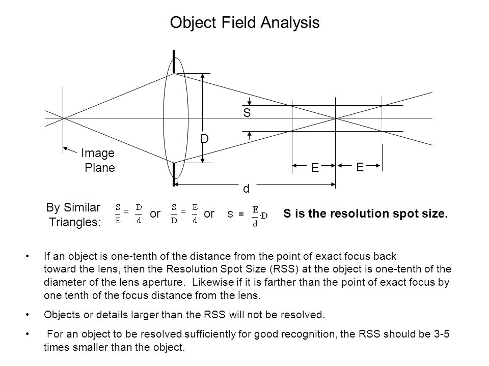 Object Field Analysis S D Image Plane E E d By Similar Triangles: or