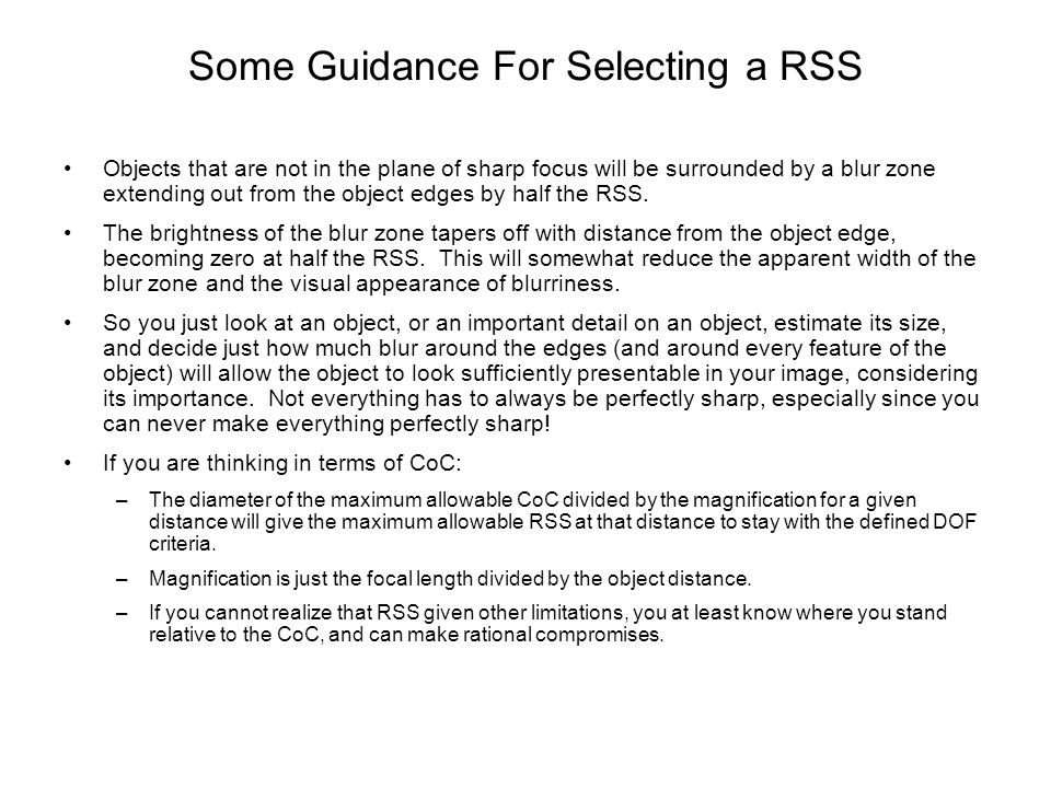 Some Guidance For Selecting a RSS