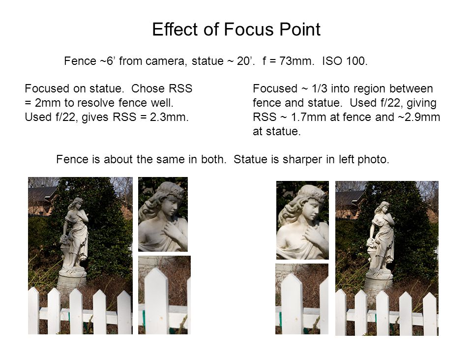 Effect of Focus Point Fence ~6' from camera, statue ~ 20'. f = 73mm. ISO 100.