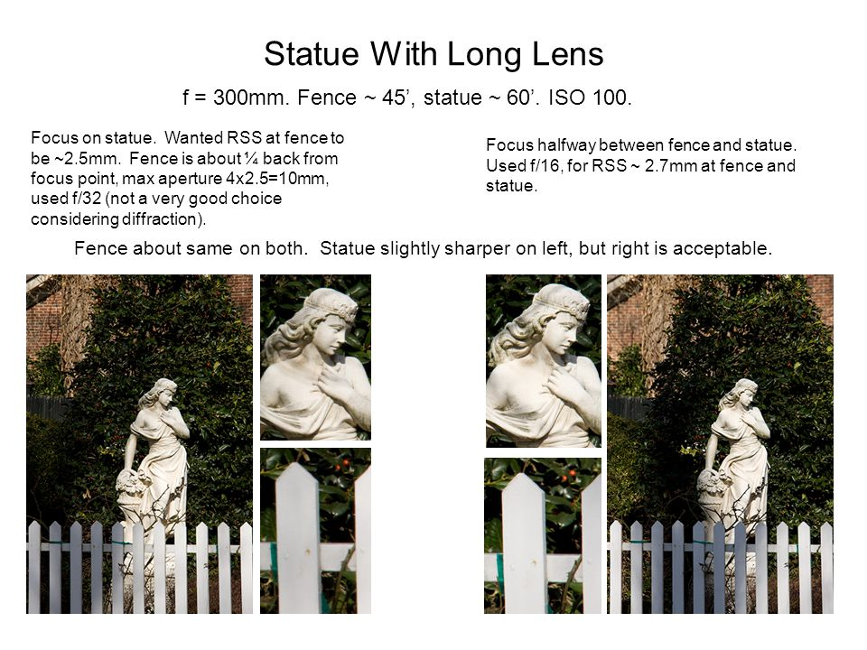 Statue With Long Lens f = 300mm. Fence ~ 45', statue ~ 60'. ISO 100.