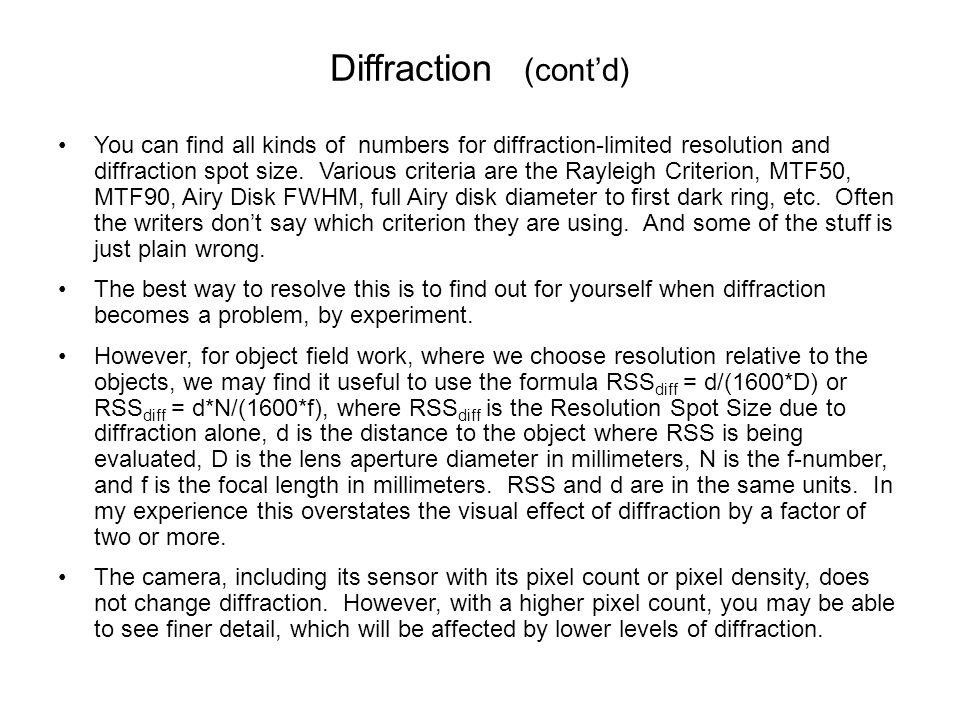 Diffraction (cont'd)