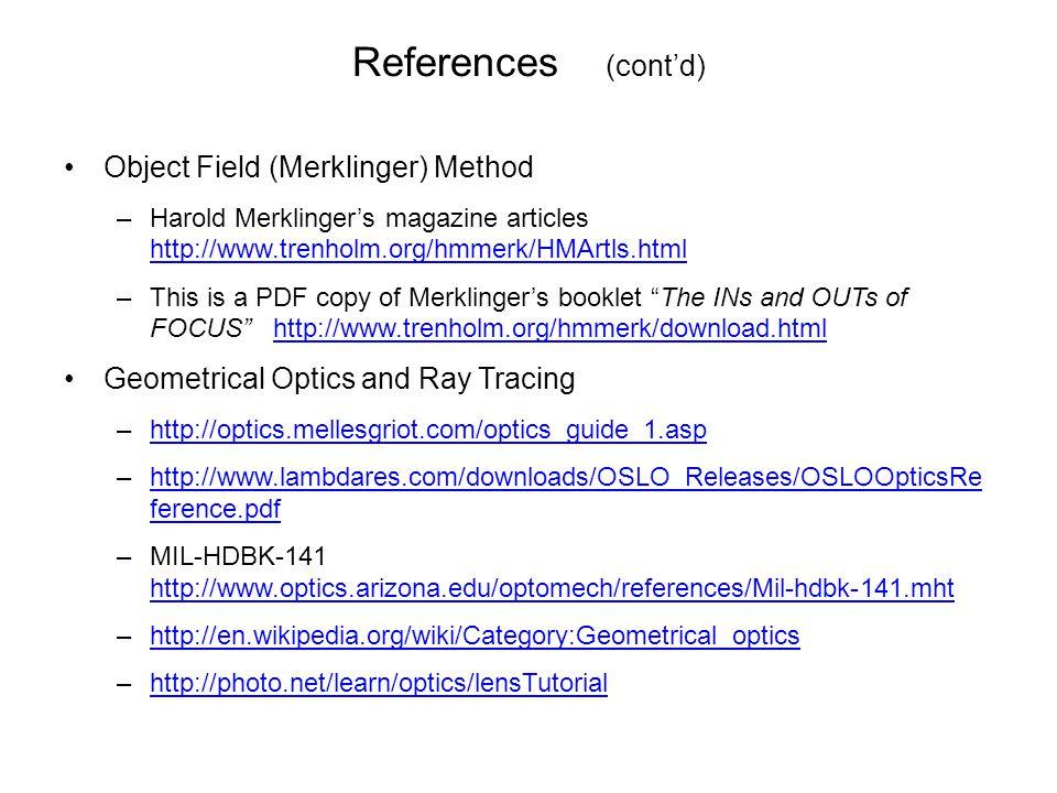 References (cont'd) Object Field (Merklinger) Method