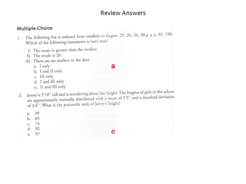 Review Answers a e