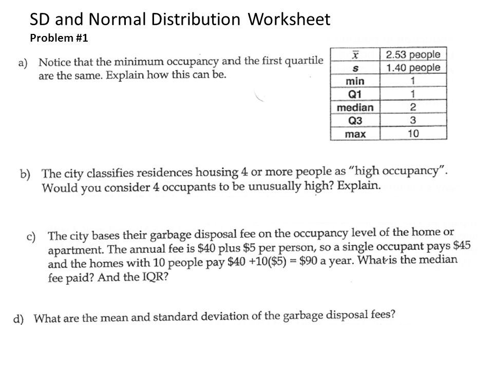 SD and Normal Distribution Worksheet Problem #1