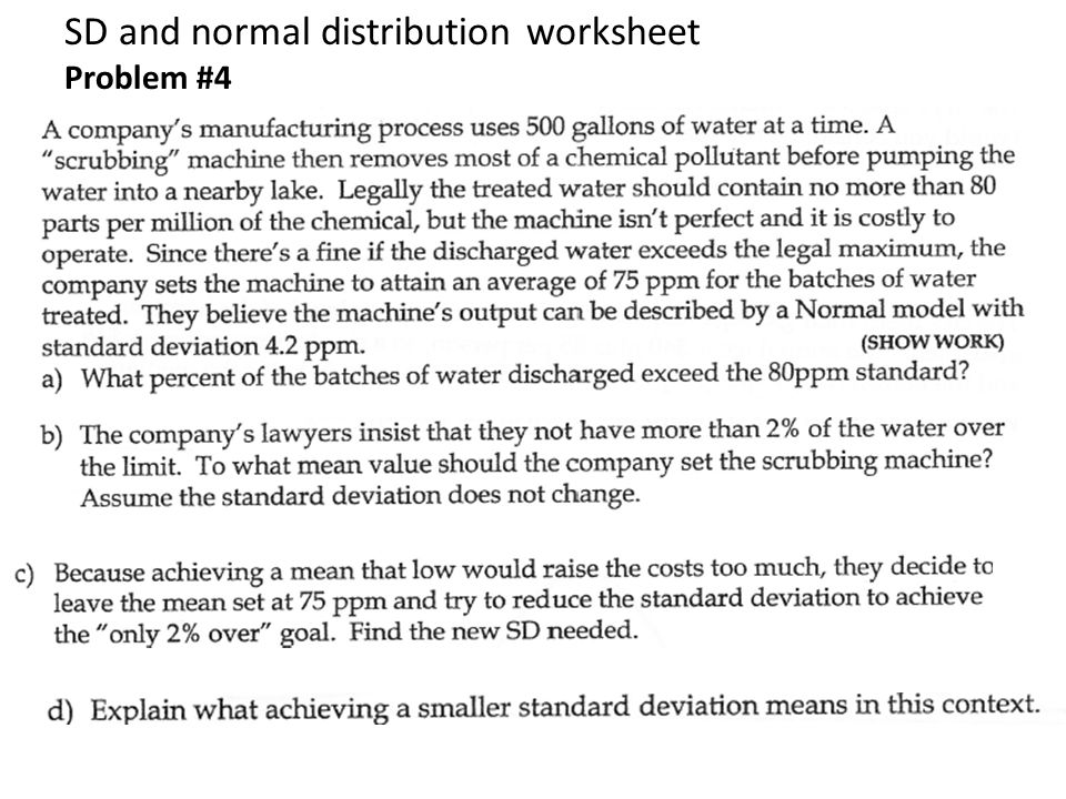 SD and normal distribution worksheet Problem #4