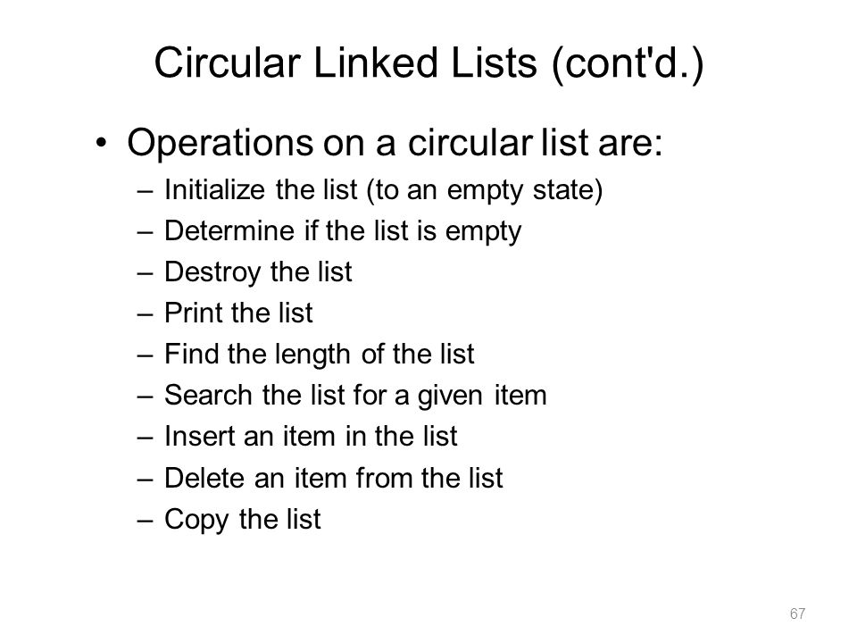 Circular Linked Lists (cont d.)