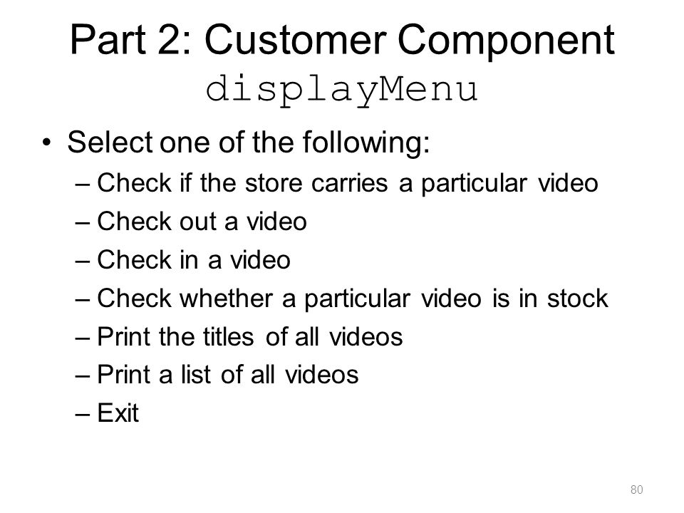 Part 2: Customer Component displayMenu