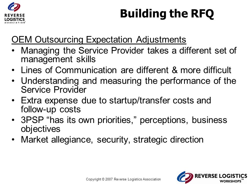 Building the RFQ OEM Outsourcing Expectation Adjustments