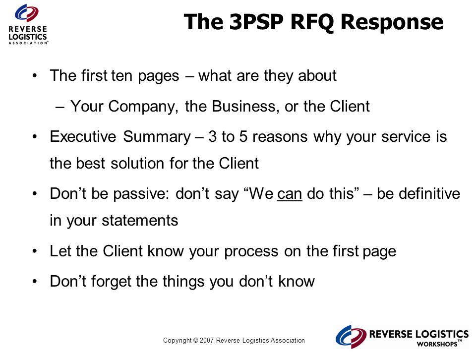 The 3PSP RFQ Response The first ten pages – what are they about