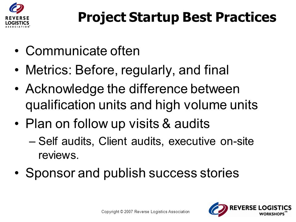 Project Startup Best Practices