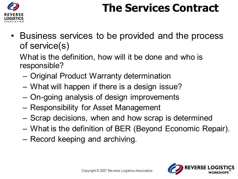 The Services Contract Business services to be provided and the process of service(s)