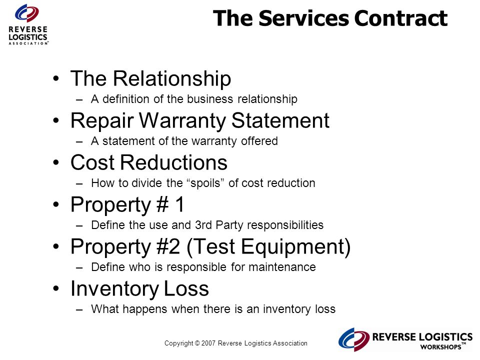 Repair Warranty Statement Cost Reductions Property # 1