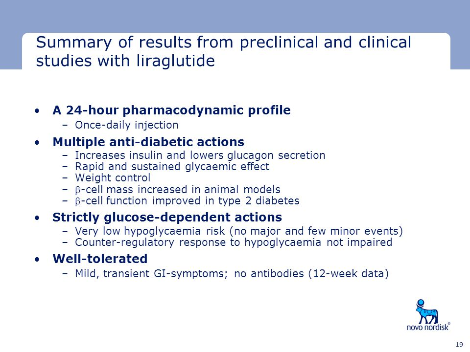 Summary of results from preclinical and clinical studies with liraglutide